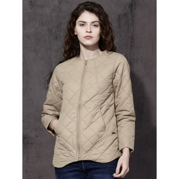Roadster Women Beige Solid Puffer Jacket