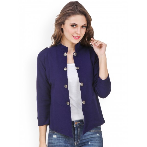 Purple Feather Navy Open Front Jacket