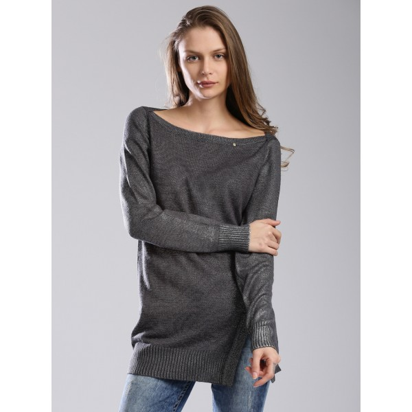 GAS Charcoal Grey & Silver-Toned Woollen Sweater