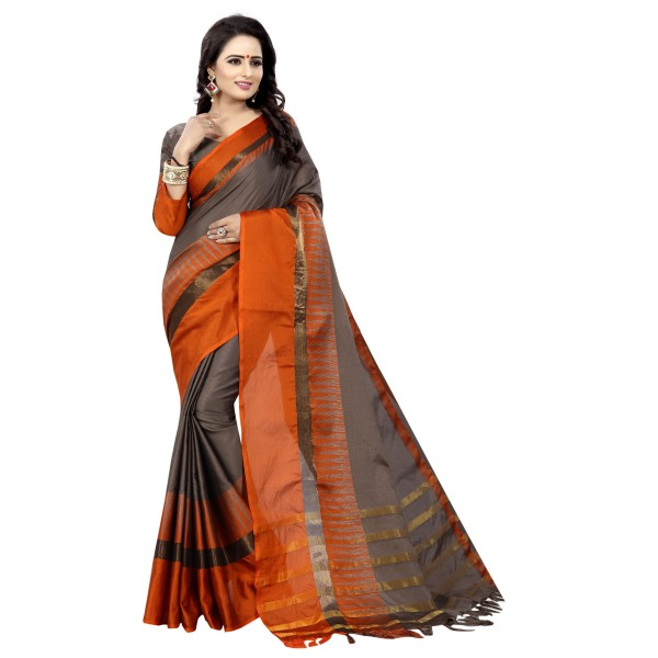 aagam fashion Orange Cotton Saree