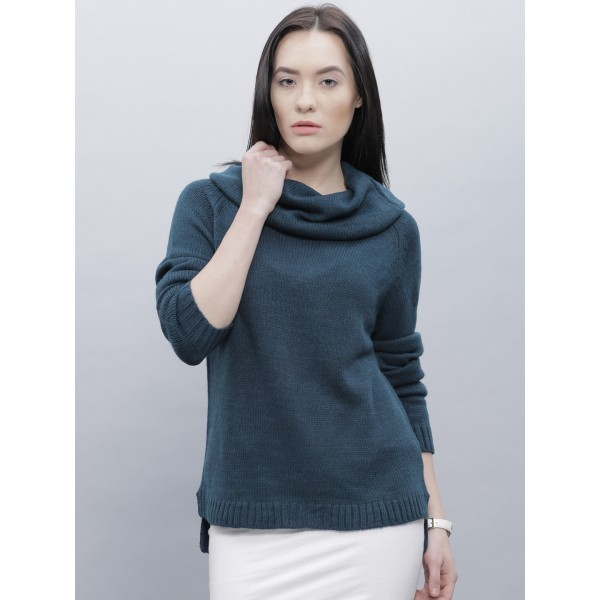 ether Women Teal Blue Self-Design Sweater