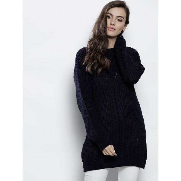 DOROTHY PERKINS Women Navy Blue Cable Knit Longline Pullover