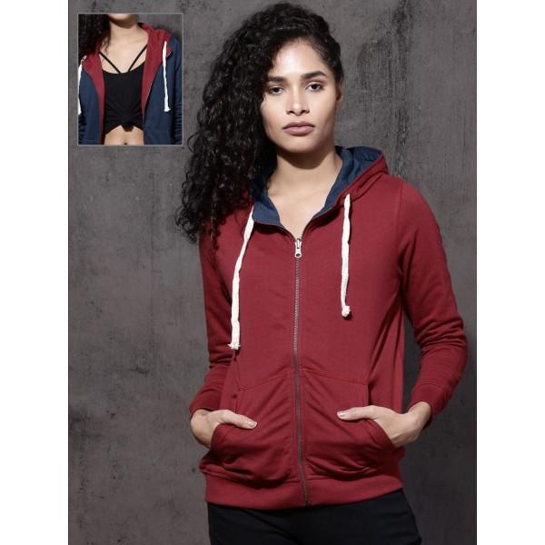 Roadster Women Navy Blue & Red Solid Reversible Hooded Sweatshirt