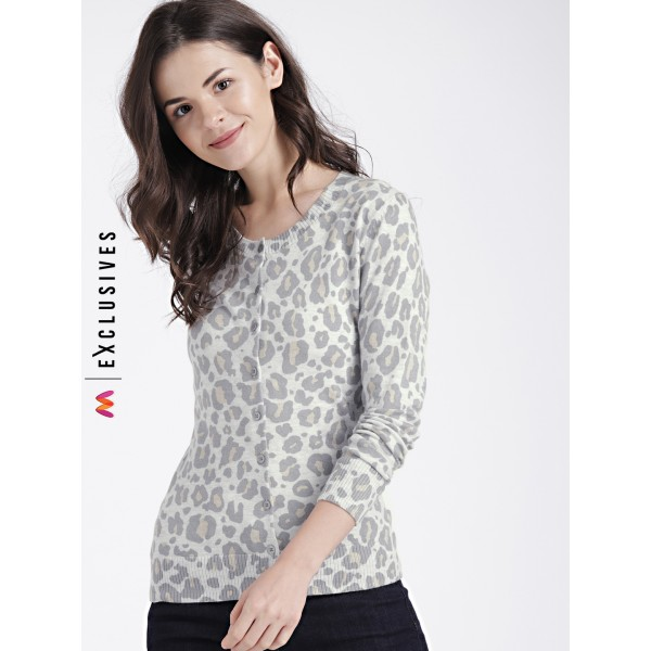 GAP Women's Slim Cheetah Print Crewneck Cardigan Sweater