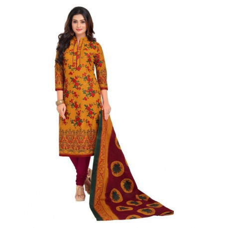 Baalar Gold Cotton Dress Material