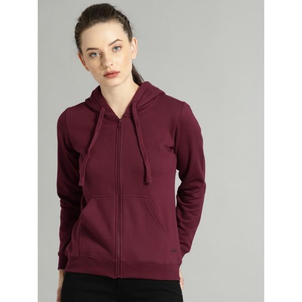 Roadster Women Burgundy Solid Hooded Sweatshirt