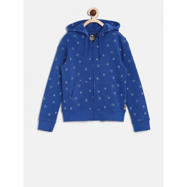 Flying Machine Boys Blue Solid Hooded Sweatshirt