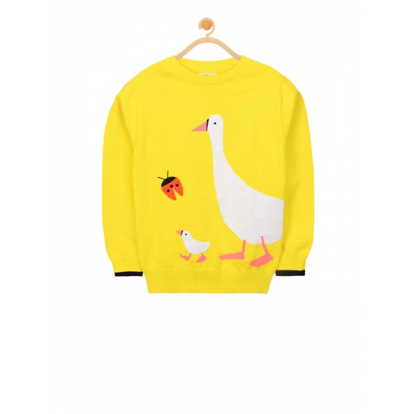 Cherry Crumble Unisex Yellow Self Design Pullover