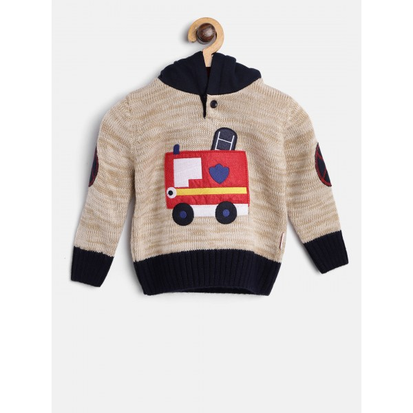 Wingsfield Boys Beige & Navy Applique Hooded Sweater