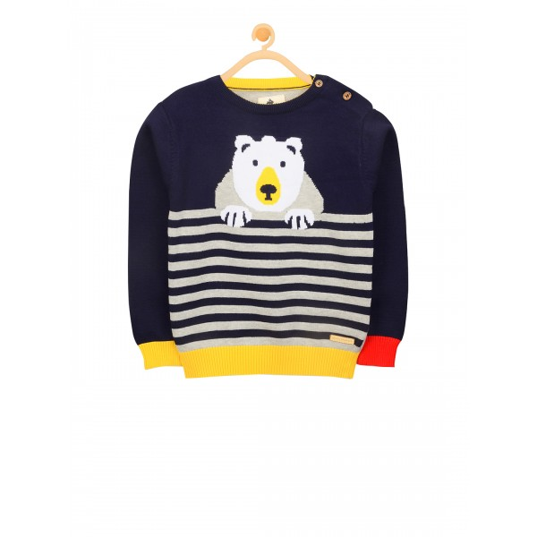 Cherry Crumble Unisex Navy Blue & Grey Striped Pullover