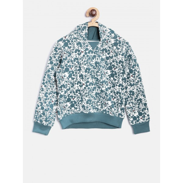 YK Disney Boys White & Teal Blue Printed Hooded Sweatshirt