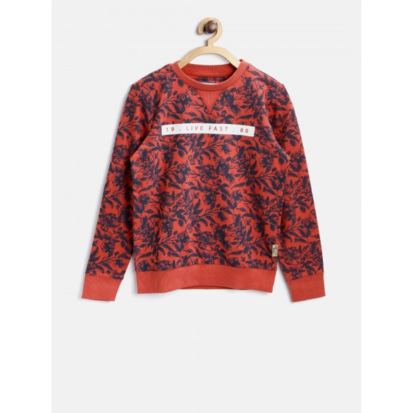 Flying Machine Boys Rust Red & Navy Printed Sweatshirt