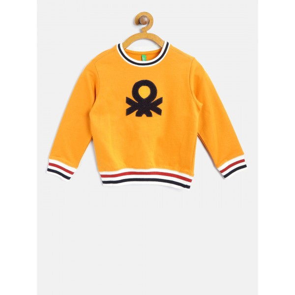United Colors of Benetton Boys Mustard Yellow Appliqué Detail Sweatshirt