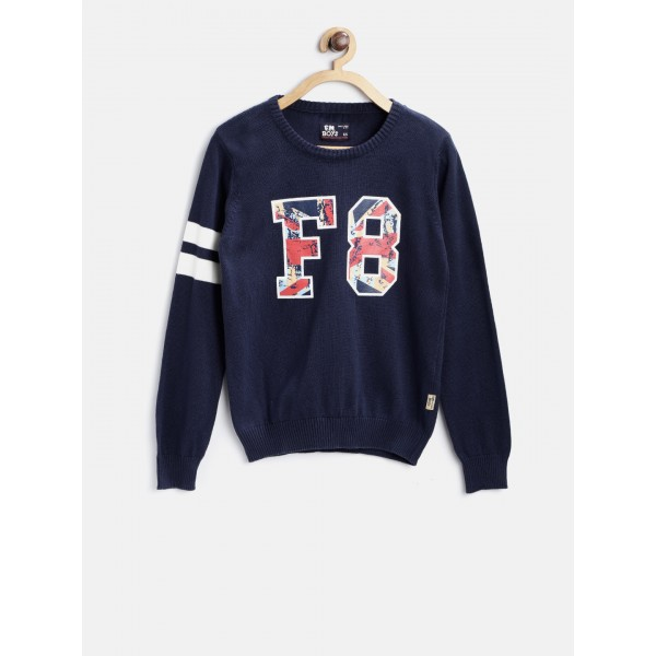 Flying Machine Boys Navy Blue Printed Pullover