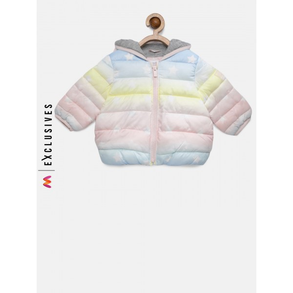 GAP Baby Girls' Multicoloured ColdControl Lite Ombre Puffer Jacket