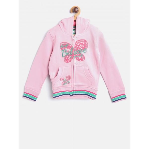 612 league Girls Pink Printed Hooded Sweatshirt