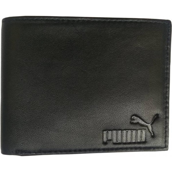 Puma Men Black Genuine Leather Wallet  (6 Card Slots)