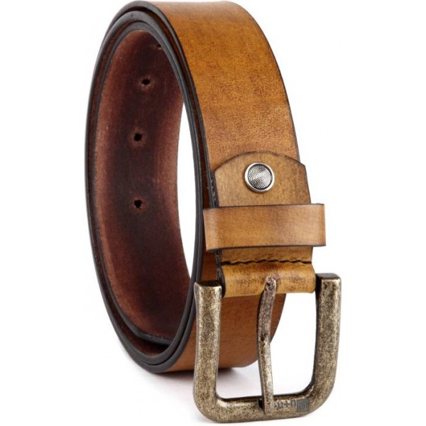 U+N Men Casual Brown Genuine Leather Belt
