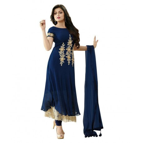 Darshita International Blue Georgette Dress Material