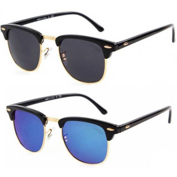 Criba Clubmaster Sunglasses  (Black, Blue)