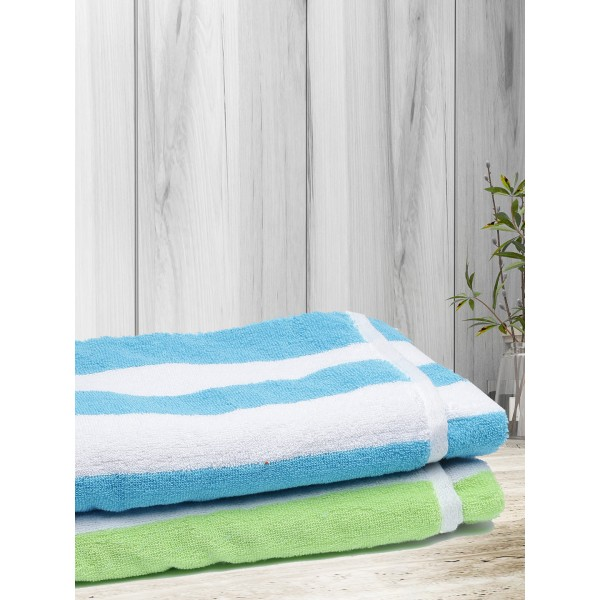 ROMEE 100% Cotton Strip Pattern Towel 70 cm x 140 cm Set of 2 - Blue & Green