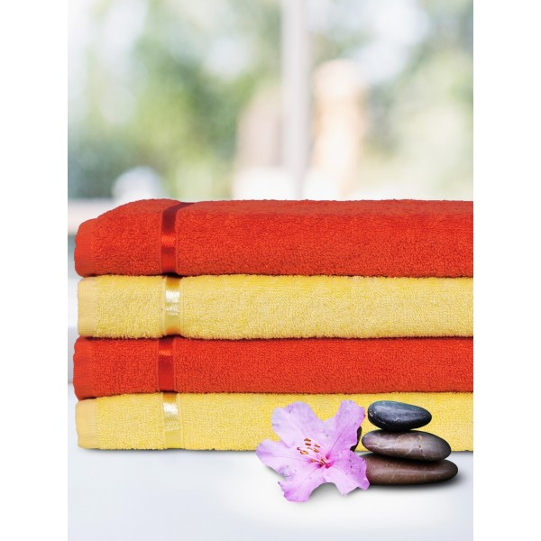 Story@home Unisex Orange & Yellow Cotton 450 GSM Set of 4 Towels