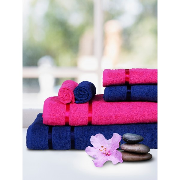 Story@home Set of 6 Navy & Pink 450 GSM Face Towels