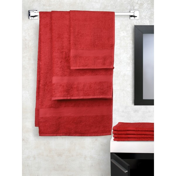 Trident Set of 7 Red Cotton 400 GSM Towels