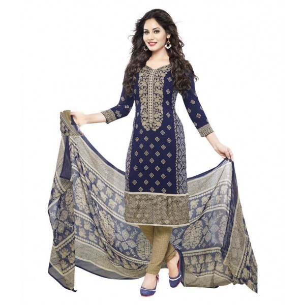Varsha Navy Chiffon Dress Material