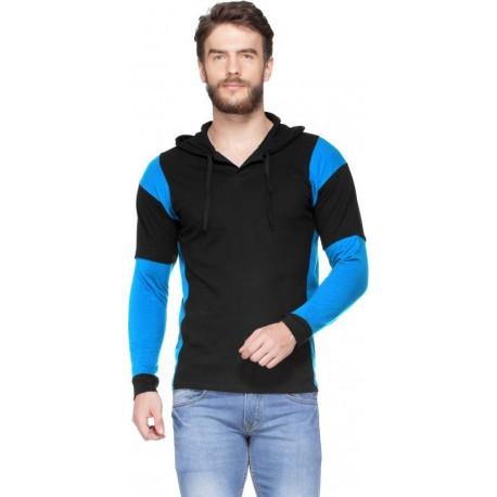 V3Squared Solid Men Hooded Black, Light Blue T-Shirt
