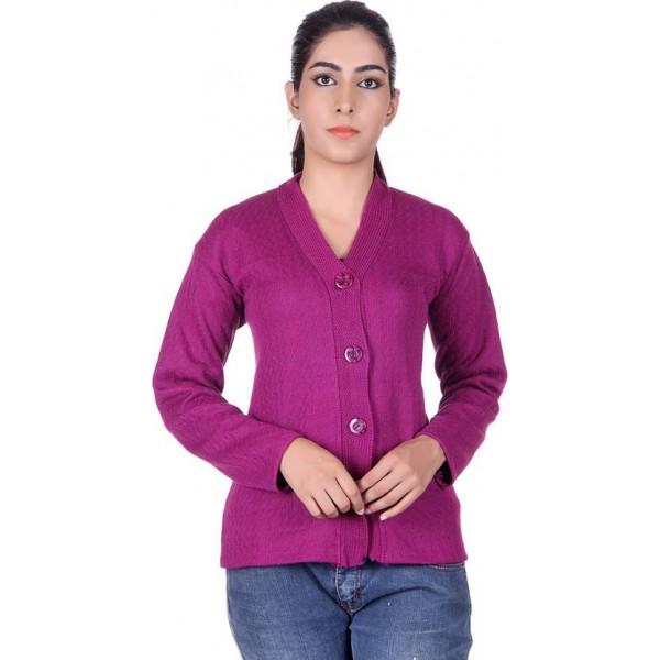 SatSun Solid V-neck Formal Women Purple Sweater