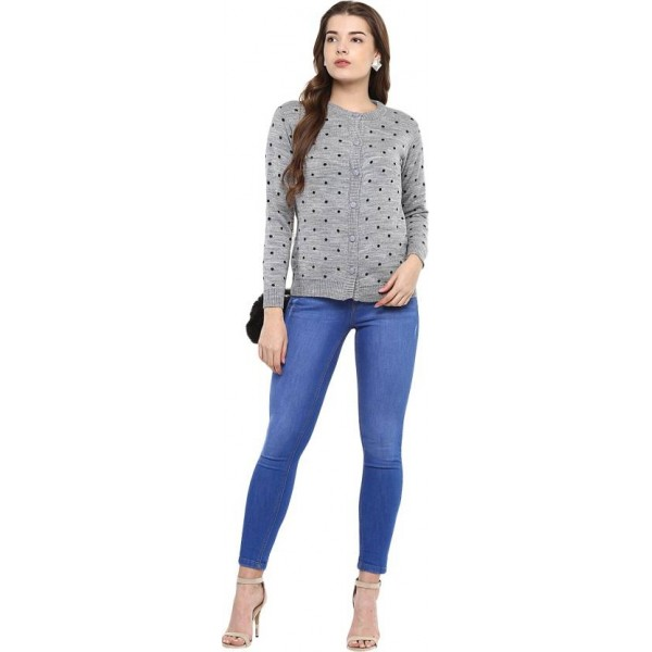 Modeve Self Design Round Neck Casual Women Grey Sweater