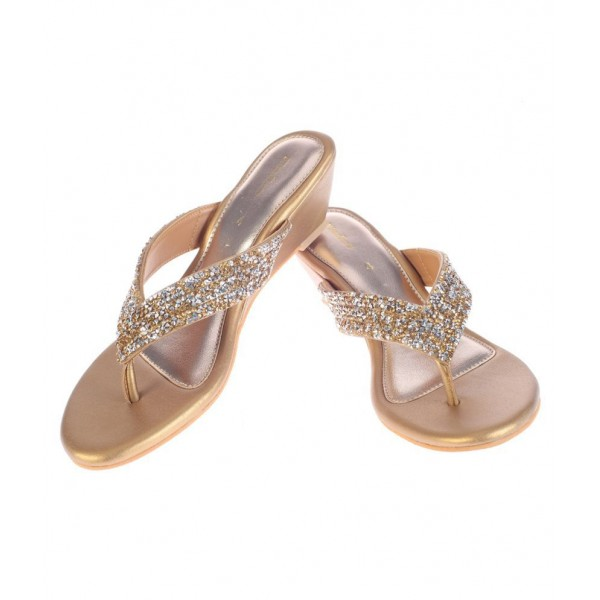 Khadim's Gold Wedges Heels