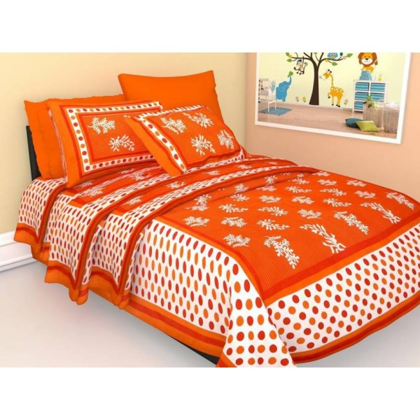 JaypurTextile 140 TC Cotton Single Printed Bedsheet