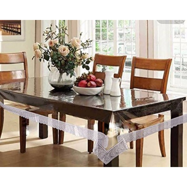 Kart Bazaar Printed 6 Seater Table Cover  (Silver Border, PVC, Plastic)