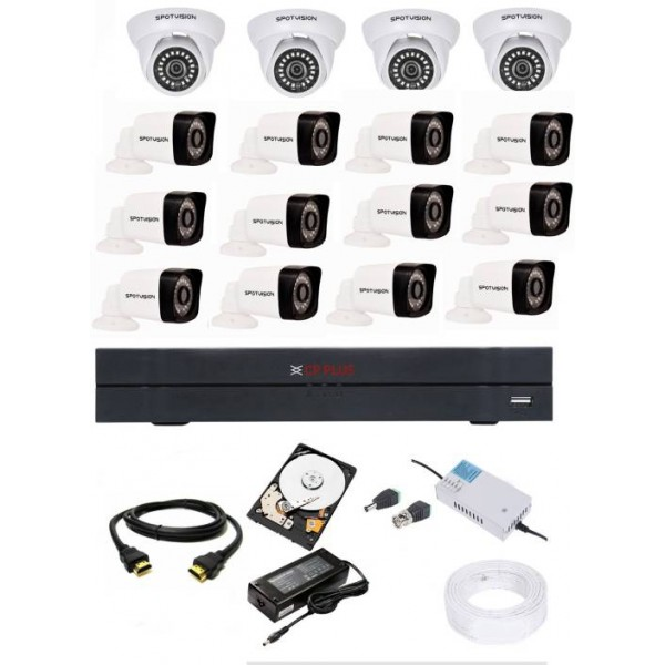 Cp Plus 16 Channal HD DVR 1080p 1Pcs,Spotvision Bullet Camera 2.4MP 12Pcs,Spotvision Dome Camera 2.4 MP 4Pcs