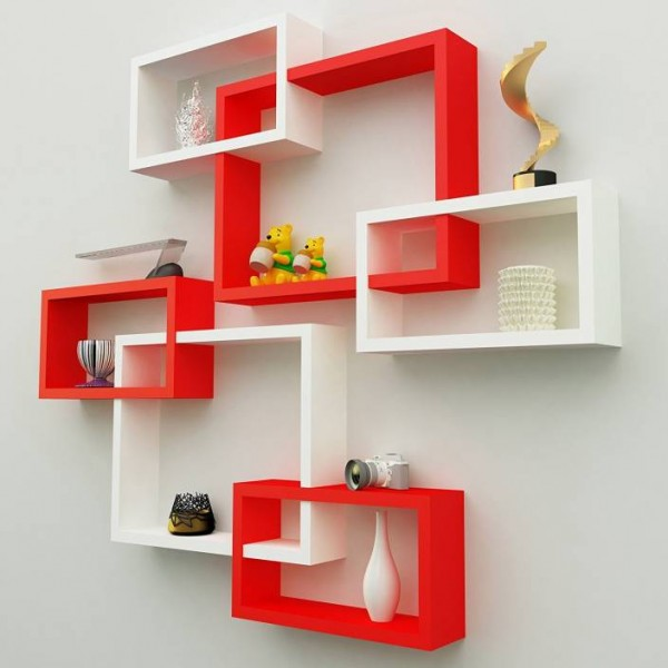 Anjana Décor MDF Wall Decoration Intersecting Floating Shelves Set Of 6 Wooden Wall Shelf  (Number of Shelves - 6, White, Red)