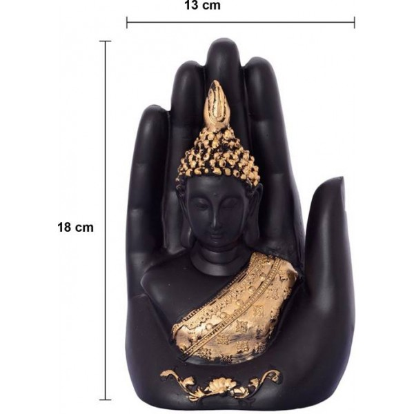 eCraftIndia Golden Handcrafted Buddha Palm Decorative Showpiece - 18 cm  (Polyresin, Gold, Black)
