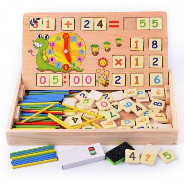Emob 2 in 1 Multi Functional Educational Wooden Digital Computing Learning Blocks Box Set For Kid's  (Multicolor)