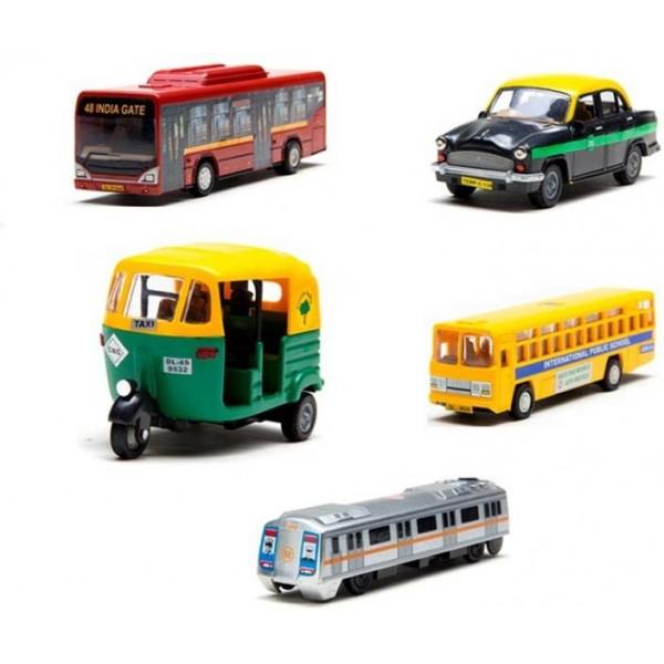 AR Enterprises 5 collection public transport lowflorbus,citybus,texi,metro,cng auto  (Multicolor)