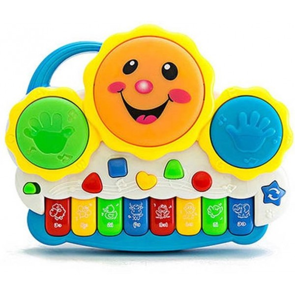 Vivir Drum Keyboard Musical Toys with Flashing Lights, Animal Sounds And Songs  (Multicolor)