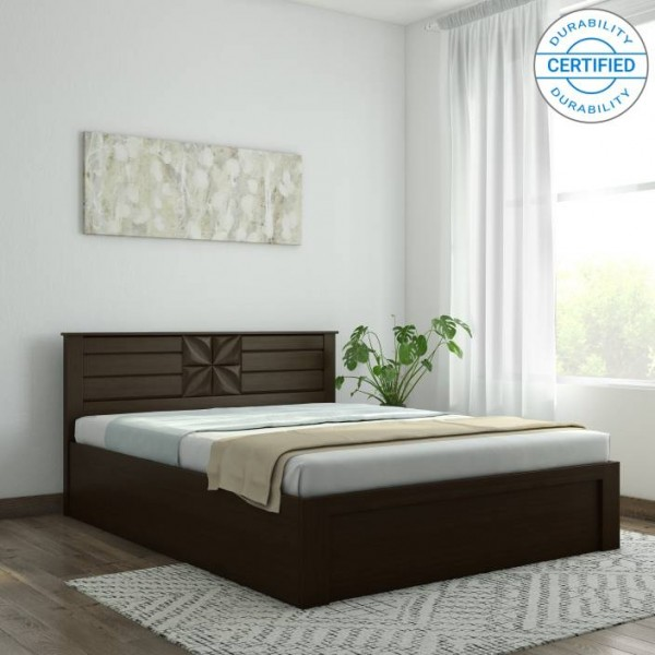 Spacewood Engineered Wood Queen Bed With Storage  (Finish Color - Vermont)
