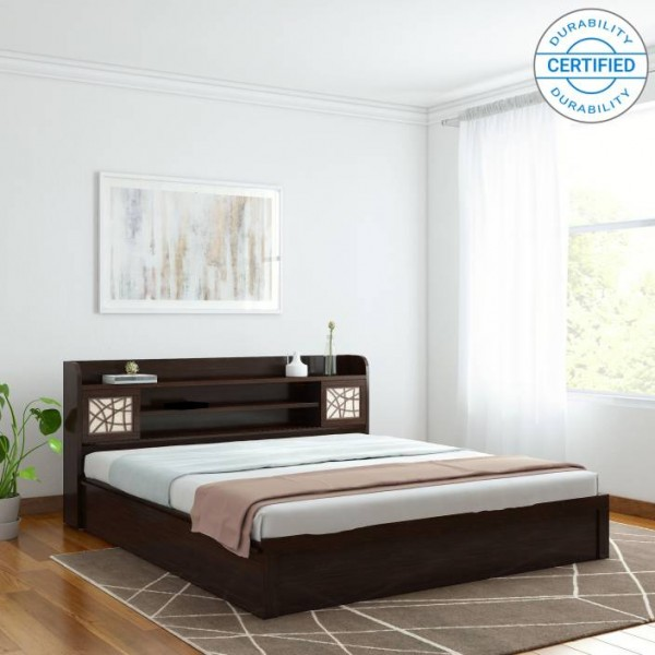 Spacewood Mayflower Engineered Wood King Bed With Storage  (Finish Color - Vermount)