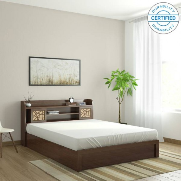 Spacewood Mayflower Engineered Wood Queen Bed With Storage  (Finish Color - Brown)