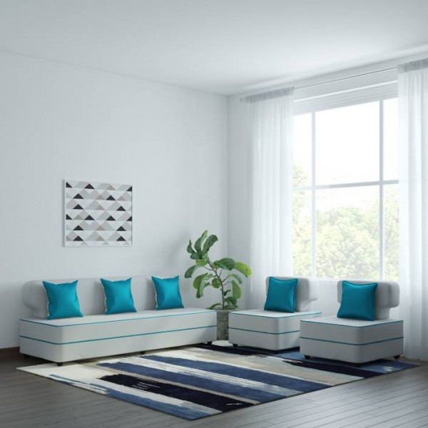 Bharat Lifestyle Butterfly Leatherette 3 + 1 + 1 White & Blue Sofa Set