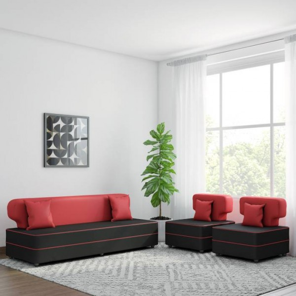 Bharat Lifestyle Butterfly Leatherette 3 + 1 + 1 Black Sofa Set