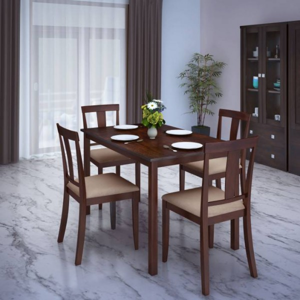 Perfect Homes by Flipkart Fraser Rubber Wood 4 Seater Dining Set  (Finish Color - Walnut)
