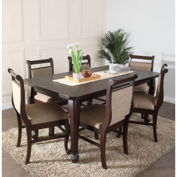 Furnicity Engineered Wood 6 Seater Dining Set  (Finish Color - Brown)