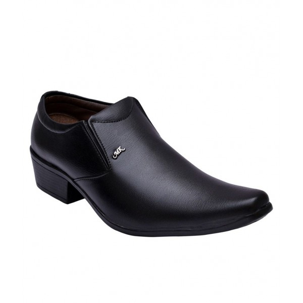Sir Corbett Black Slip On Artificial Leather Formal Shoes