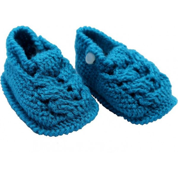 Haastika Woollen 3 to 12 months Booties  (Toe to Heel Length - 10 cm Blue)